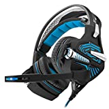 CCYOO Gaming Headset, Wired Stereo Musik Kopfhörer Surround Sound Spiel Kopfhörer W/Kopfhörer Mic LED-Licht Für Gamer,Blue