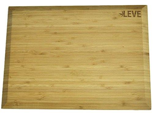 Hochwertiges Bambus Holz Schneidebrett 39 x 29 cm Groß von LEVE mit abgeflachten Kanten