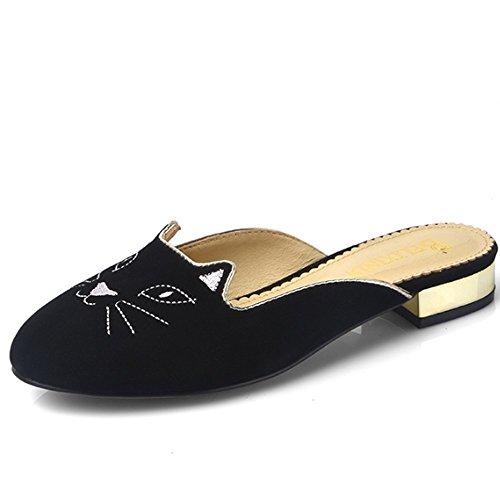 ZHANGRONG-- Chaussons demi-chaussettes Baotou Pantoufles en cuir féminin Femelles avec sandales plates (3 couleurs en option) (taille facultative) ( Couleur : B , taille : 35 ) A