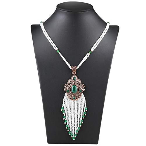 Kunliyin YY1 Böhmische Intarsien Smaragd Micro-Embedded Strass Quaste  Anhänger Pullover Kette (Color : Necklace)