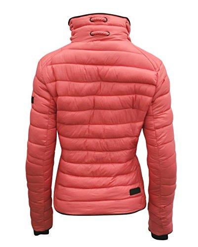 Marikoo Damen Jacke Frühling Übergangsjacke Designer Steppjacke Daunen Look L5 Coral