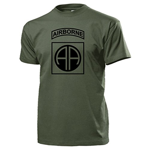 82nd Airborne Division_US-Luftlandedivision All American America's Guard of Honor US Army Fallschirmjäger Wappen Abzeichen - T Shirt Herren oliv #15644 (T-shirt Airborne 82nd)