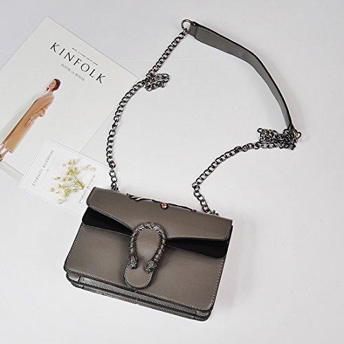 Weiblicher Paket Weingott Pu Kette Kleines Quadrat-Paket Metall Reine Farbe Damen Schulter Messenger Tasche Grau