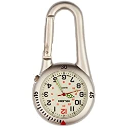 White Silver Clip on Carabiner FOB Watch with White Face Ideal for Doctors Nurses Paramedics Chefs