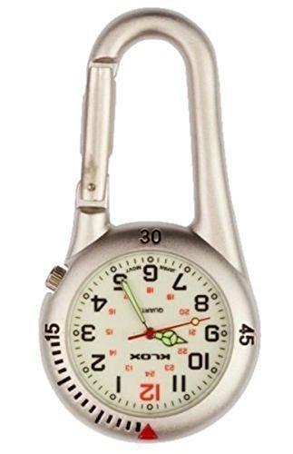 Taschenuhr Silber Karabinerhaken Mit Weißem Ziffernblatt Silber Ideal Für Ärzte Krankenschwestern Sanitäter Köche kommt mit Geschenkbox