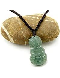 Agathe Creation JCA-F1717 - Collar de piedras de jade natural (categoría A) diseño de budista Guanyin, atrae la buena suerte, hecho a mano