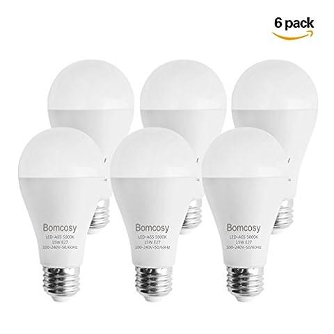 Bomcosy Ampoules LED 15 W E27 (Lot de 6 ), Équivalent Ampoule à Incandescence 100W, 5000K Blanc Froid, 1200 lumens, 220 degrés angle de faisceau, Non Utilisables Avec un