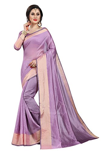 Perfectblue Women's cotton Silk Saree With Blouse Piece (LineVariation) (Lovender)
