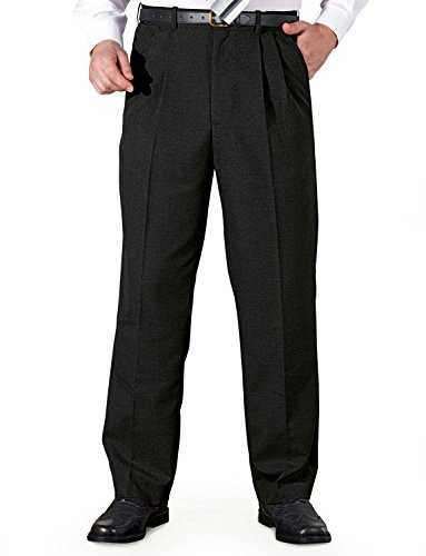 Mens Poly Viscose Pleated Trouser With Extra Stretch Waistband Black 34W x 29L