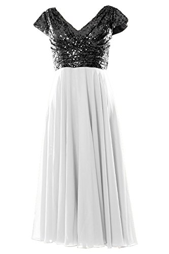 MACloth Cap Sleeve V Neck Sequin Chiffon Tea Length Bridesmaid Dress Formal Gown Black-Ivory