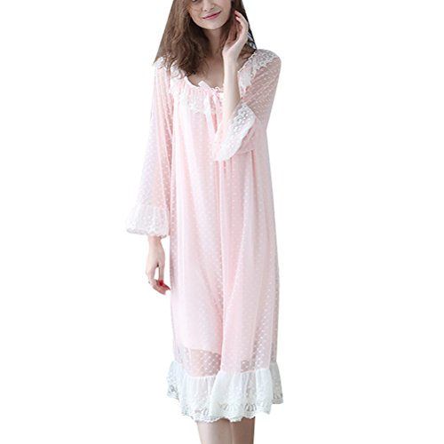 Zhhlaixing Elegant Womens Soft Princess Sleep skirt Pyjama Fashion Breathable Nightwear Orange