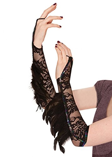 Ladies Gothic Rabe Fantasy Feder Handschuhe
