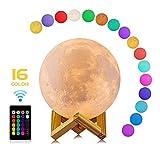LED Mond Lampe Hangable Kronleuchter 3D Mondlicht mit Remote & Touch Control, 16 Lichtfarben und dimmbar Nachtlicht, USB Wiederaufladbar als Deko und Kinder Geschenk,15cm