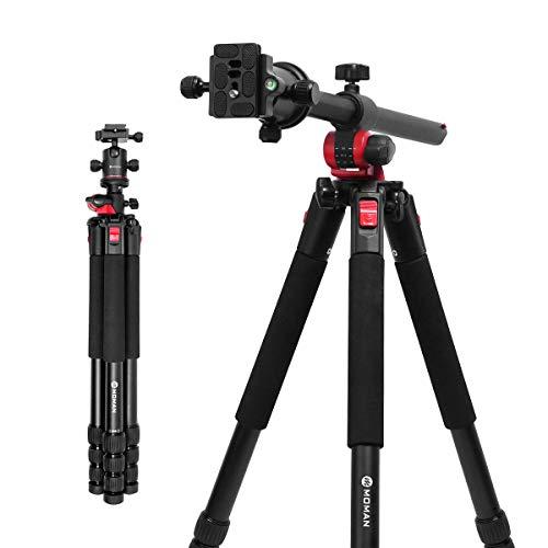 Moman Stativ Kamera Reisestativ Mittelsäule Schwenkbar Fotostativ mit Auslegearm Dreibein/Einbein 360° Panorama-Kugelkopf bis zu 182cm Belastbarkeit 15kg für DSLR Kamera Canon Nikon Panasonic Sony