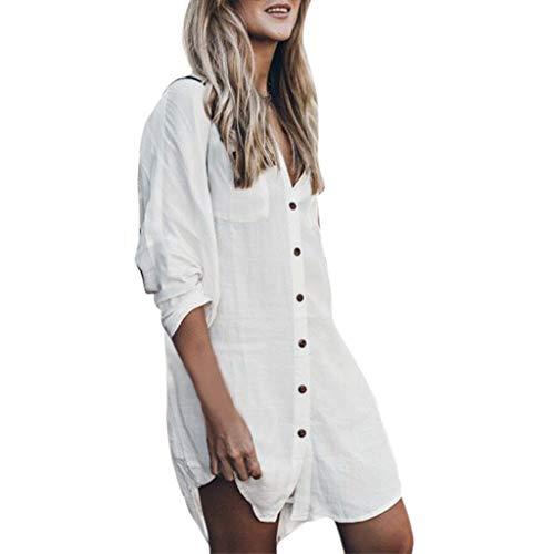 ASHOP Kleid Damen,Frauen Sommer Knopf Taschen Tshirt Kleid Lässige Tunika Langarm Loose Fit Elegante Urlaub Strand Minikleid Weiß,S (Arten Halloween Von Gibt Es Mädchen 2)
