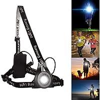 BraceTek Éclairage de Poitrine pour Course Rechargeable USB, Lampe Poitrine pour Course 3 Mode d'éclairage,A Une lumière Rouge sur Le Dos avec la sécurité,Parfait pour Les Coureurs de Nuit