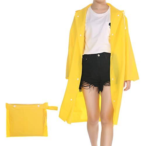 UNIQUEBELLA Transparent Regenmantel Damen Wasserdicht Eva Travel Regenbekleidung Regen Zubehör Regenjacke mit Kapuze für Wandern Radfahren Camping und Reisen (Gelb, M)