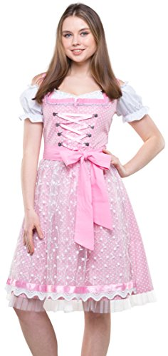 Bavarian Clothes Dirndl Damen Hellrosa Gepunktet mit Tüllschürze, 3 teiliges Set '6050' Midi Trachten Dirndl mit Dirndlbluse (Größe 38) -