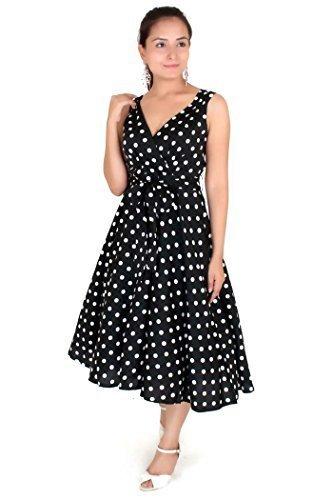 Robe 40s 50s Swing Vintage Rockabilly Femmes Rétro Bal Grande Taille 10 - 28 Noir