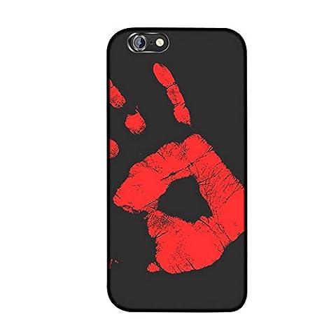 MIMINUO Magischer Thermal Sensor Heißer Soft TPU Rückseitiger Fall für iPhone SE/5/5S/6/6S/6Plus/6SPlus/7/7Plus Case, Color Wechseln mit Temperatur Thermische Induktion Verfärbung Fluoreszierend (Schwarz ,Rote ) (iPhone7 plus, (Thermal Sensor)