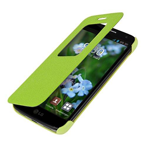 kwmobile Hülle für LG G2 Mini - Bookstyle Case Handy Schutzhülle Kunstleder mit Sichtfenster - Flipcover Klapphülle Grün