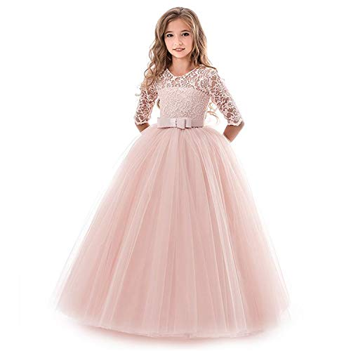 EARIAL& New Princess Lace Dress Kids Flower Embroidery Dress for Girls Vintage Children Dresses for Wedding Party Formal Ball Gown 14T Beige 9