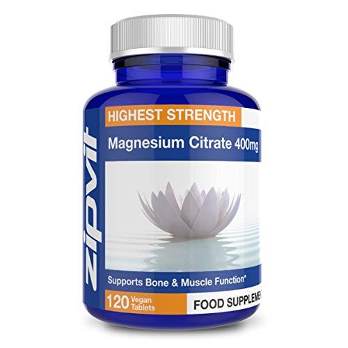 Magnesium-Citrat 400 mg doppelt stark | 120 Tabletten | 4-Monats-Vorrat | Unterstützt Muskel- und Knochengesundheit | Vegetarisch - Magnesium-120 Tabletten
