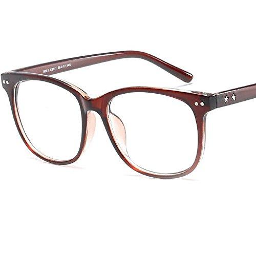 LANOMI Retro Nerdbrille Runde Brille Brillenfassung Ohne Stärke Hornbrille Damen Herren mit Brillenetui (Braun)