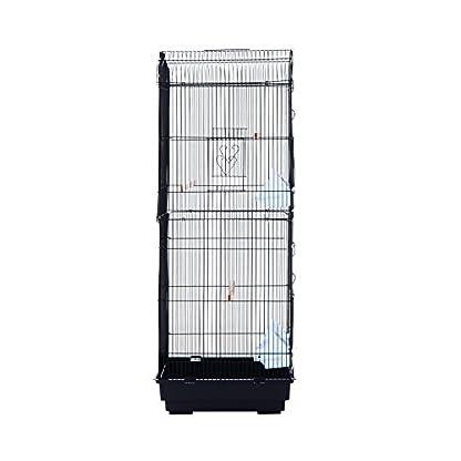 PawHut Large Metal Bird Cage for Parrot Parakeet Macaw Pet Supply Black 47.5L x 36W x 91H (cm) 4