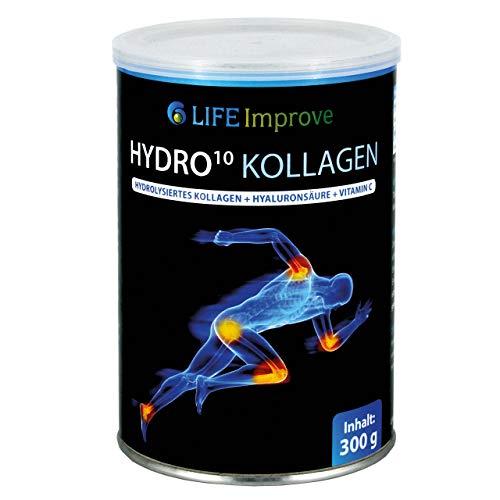 Hydro 10 Kollagen - hydrolysiertes Collagen - Kollagenhydrolysat-Peptide - Hyaluron-Säure - Vitamin C - Magnesiumcitrat - Pulver zum Anrühren - 300 g