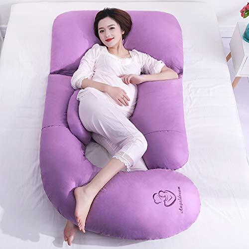 Oreiller de grossesse complet et oreiller de maternité, coussin d'allaitement et d'allaitement avec housse remplaçable et lavable (Couleur : Purple)