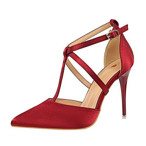 z&dw Beaux-élégant avec pointe peu profonde satin de hauts talons Croix ceinture sexy sandales slim Vin rouge
