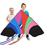 Tomi Kite - Grandissimo Aquilone Arcobaleno per Bambini e Adulti - Facile da Lanciare con Vento Forte o una Brezza Leggera - Largo 150cm - 100 Metri di Cavo - 6 Code - Costruito per Durare
