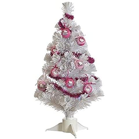 Hello Kitty 60cm en acier doux en PVC/cuivre/fibre optique arbre de Noël avec décorations, blanc/rose