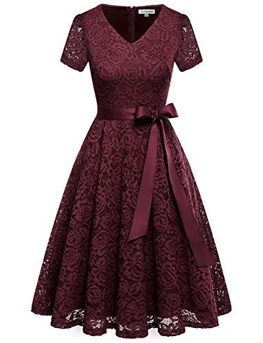 GardenWed Damen Elegant Kleider Spitzenkleid Knielang Rockabilly Kleid Cocktailkleid Abendkleider Burgundy ()