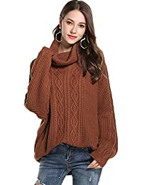 NEPW Femme Automne Hiver Manches Longues Pull en Tricot Col Rond Pullover  Chaud T-Shirt Tricot Sweater Col Rond… 8b28e2560924