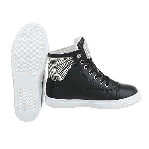 Scarpe da donna Sneaker piatto Sneakers low Ital-Design nero L6266