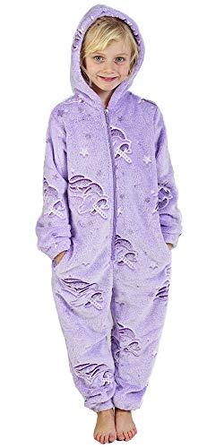 CityComfort Pyjamas eines Stückes Kinder Junge Mädchen Einhorn Hund Katze Kaninchen Dinosaur Pinguin Koala Pyjama Jungen Mädchen Onesie 2-14 Jahre (11-12 Jahre, Violett leuchtet im Dunkeln)