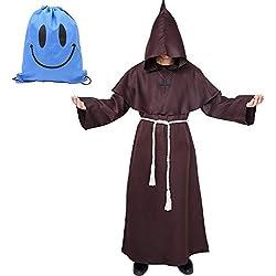 Disfraz de Monje Sacerdote Túnica Medieval Renacimiento Traje con Cruz para Halloween Carnaval (XL, Marrón)