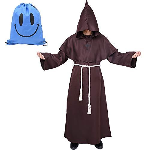 Kapuzen Robe Kostüm - Mönch Robe Kostüm Mönch Priester Gewand Kostüm mit Kapuze Mittelalterliche Kapuze Herren Mönchskutte (Large, Braun)