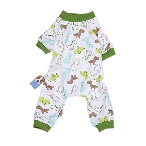 Ingeniously Hundebekleidung Cotton Pyjamas Cute Dinosaur Pattern Weiche Materialpflege Die Haut Small Pet Pyjamas Kleidung Dinosaur Apparel Jumpsuit fot Pet (Dinosaur Pet Kostüm)