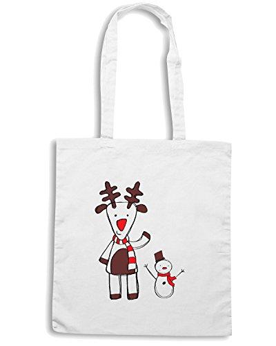 T-Shirtshock - Borsa Shopping T0390 renna natale festivita Bianco