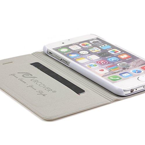 Urcover® iPhone 6 / 6s [ KAMERA-SCHUTZ ] Handy Schutz-Hülle   Kartenfach & Standfunktion   DOT Case Pink   Wallet Cover Tasche   Smartphone Zubehör Etui speziell für Apple iPhone 6 / 6-s Weiss