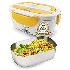 Idea Regalo - SPICE Amarillo inox Scaldavivande portatile Lunch Box con Forchetta e vaschetta estraibile in acciaio inox 1,5 litri 40 W
