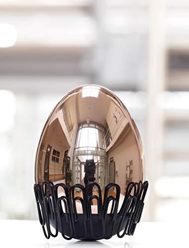'Troika, l'oeuf de Colomb Presse-papier – gap08/RG – magnétique avec 20 Trombones (Noir) – en acier inoxydable, rose or – Fonction' Culbuto '– L'original de Troïka