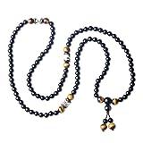 coai® Bracelet/Collier Tibétain 108 Perles Mala Pierres Naturelles Onyx Noir Œil de Tigre Jaune Graines de Bodhi Cordon Élastique Unisexe