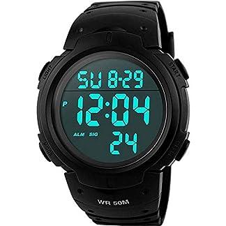 Para la práctica de deportes de los relojes digitales – al aire libre impermeable Deporte Reloj con alarma, Big Face Military muñeca relojes con retroiluminación LED para running hombres – Negro VDSOW