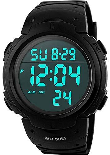 VDSOW Herren Digital Quarz Uhr mit Schwarz Plastic Armband Big Face Military Digitaluhren Outdoor Wasserdicht Sportuhr mit Wecker/Timer/LED Hintergrundbeleuchtung