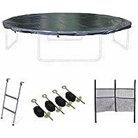 Alice's Garden - Pack accessoires pour trampoline Ø 370cm Saturne - Échelle, bâche de protection, filet de rangement pour chaussures et kit d'ancrage
