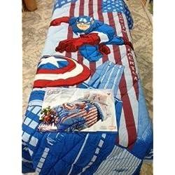 Caleffi Colcha Cama individual Marvel Capitán América dibujo laterales fundas puro algodón relleno fibra de poliéster antialérgica Color Azul